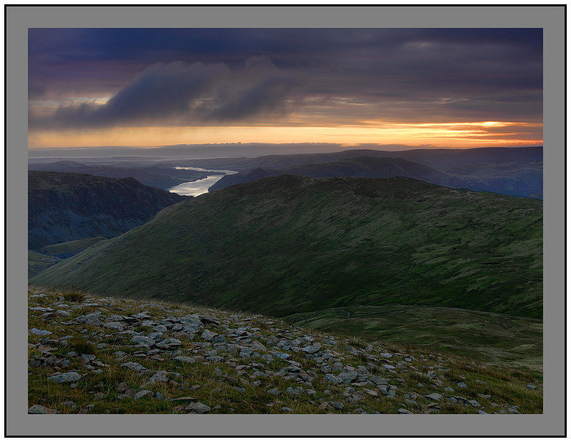 September 2009-Greenside and Ullswater from Catstye Cam North Eastern Cumbrian Fells Cumbria England.