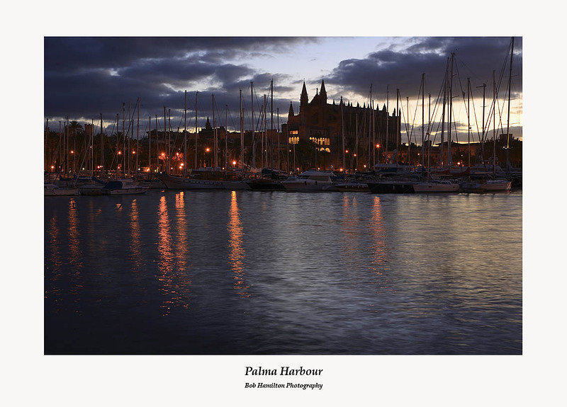 Palma Cathedral from the harbour at sunrise