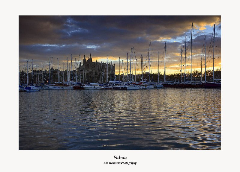 Palma Cathedral and harbour at sunrise