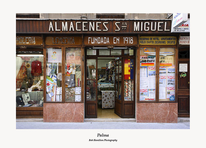 Palma-haberdashery and travel agent shop front on Sant Miquel