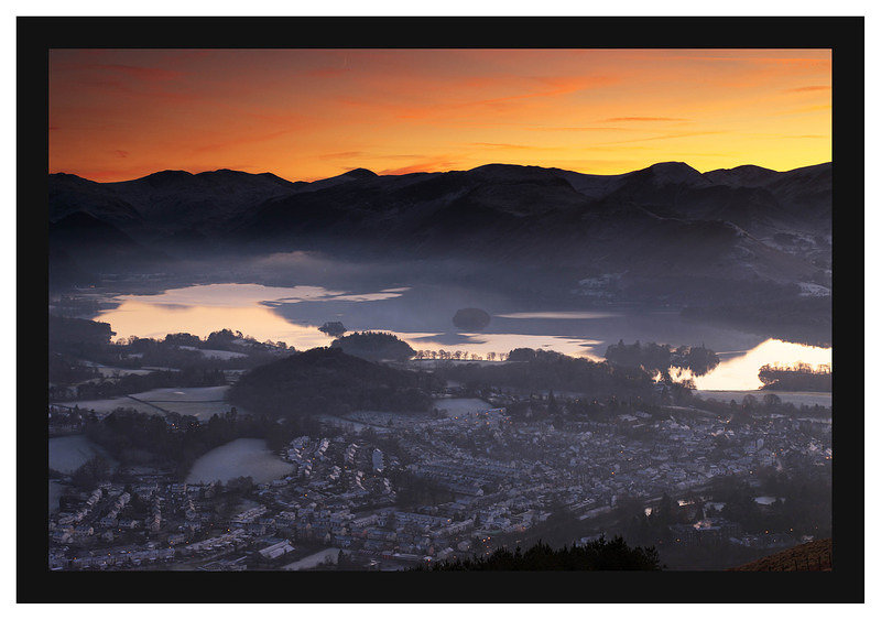 46E8185 Sunset over Keswick and the Newlands Valley peaks from Latrigg