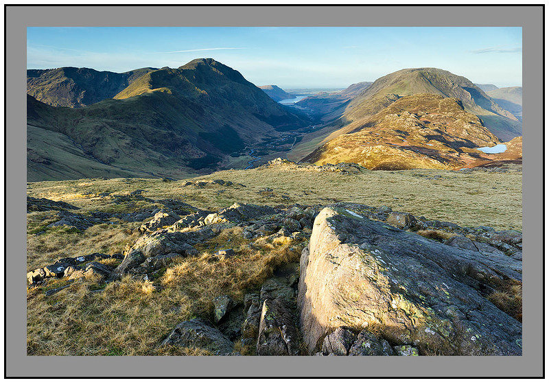 S2014442 Early morning light on Pillar Mountain Ennerdale Haystacks and High Stile from Brin Crag