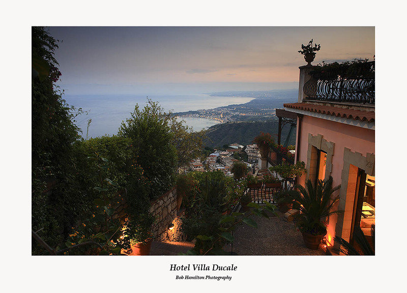 The view to Giardini Naxos from the Hotel Villa Ducale Taormina