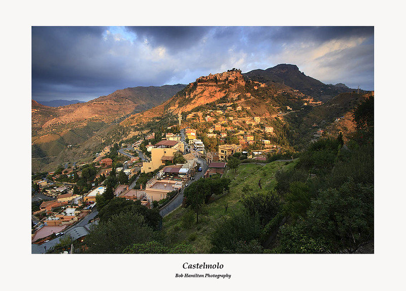First Light on Castelmolo from the Castello Taormina