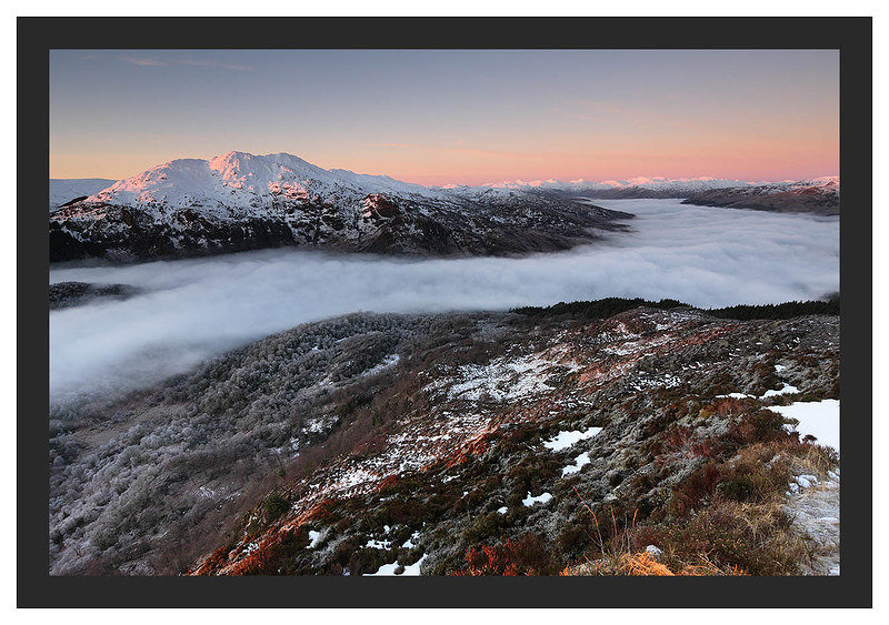 46E0429 Alpenglow on Ben Venue and the distant Arrochar Alps and a temperature inversion over Loch Katrine