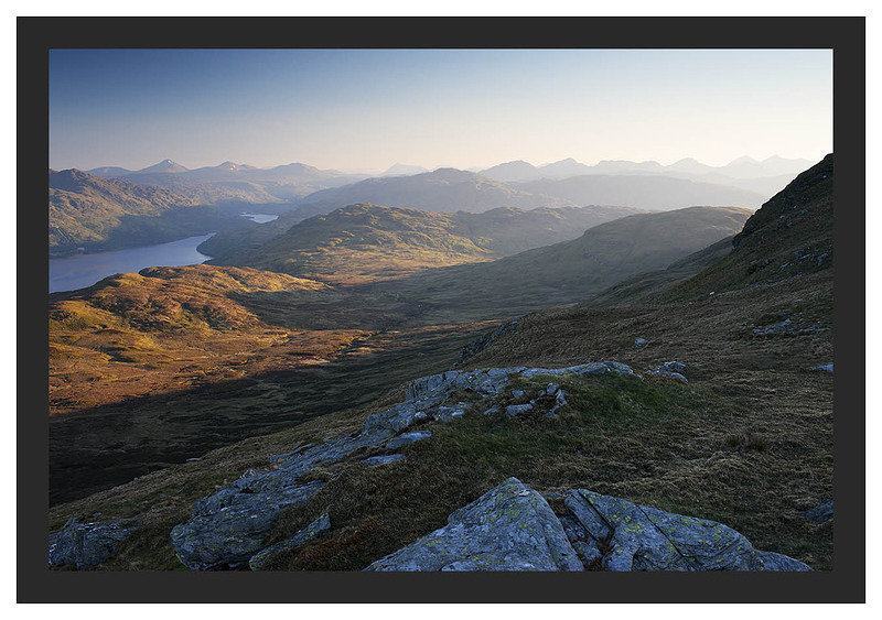 46E3590 First light on Loch Lomond and the Central Highlands from the Ptarmigan Ridge