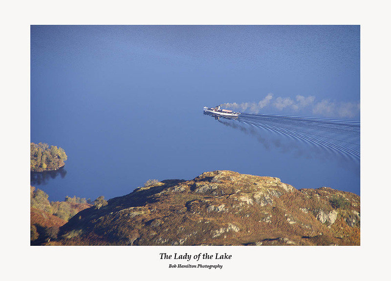 The Lady of the Lake seen on Loch Katrine from Ben Venue