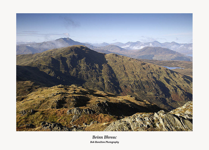 Beinn Bhreac from Ben Venue with Ben Lomond and the Arrochar Alps behind