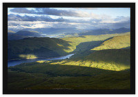 46E4271 Early morning light on Glen Finglass reservoir and Lochs Arklet and Katrine from Ben Ledi
