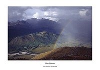 Beinn Fhionnlaidh and rainbow over Glen Etive from Ben Starav