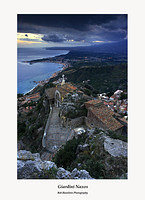 Sicily-The view from the Castello over the Santuario dell Madonna della Rocca to Giardini Naxos