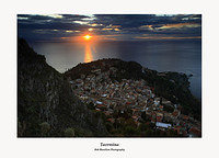 Sicily-Sunrise over Taormina and the Ionian Sea from Monte Tauro