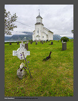 O123511 Lofoten graveyard and church Gimsoy