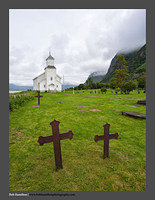 O123515 Lofoten graveyard and church Gimsoy