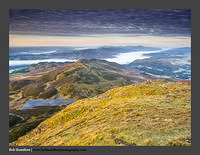 O126133 Daybreak on Ben y Vrackie and a sea of cloud over Lochs Tay and Tummel