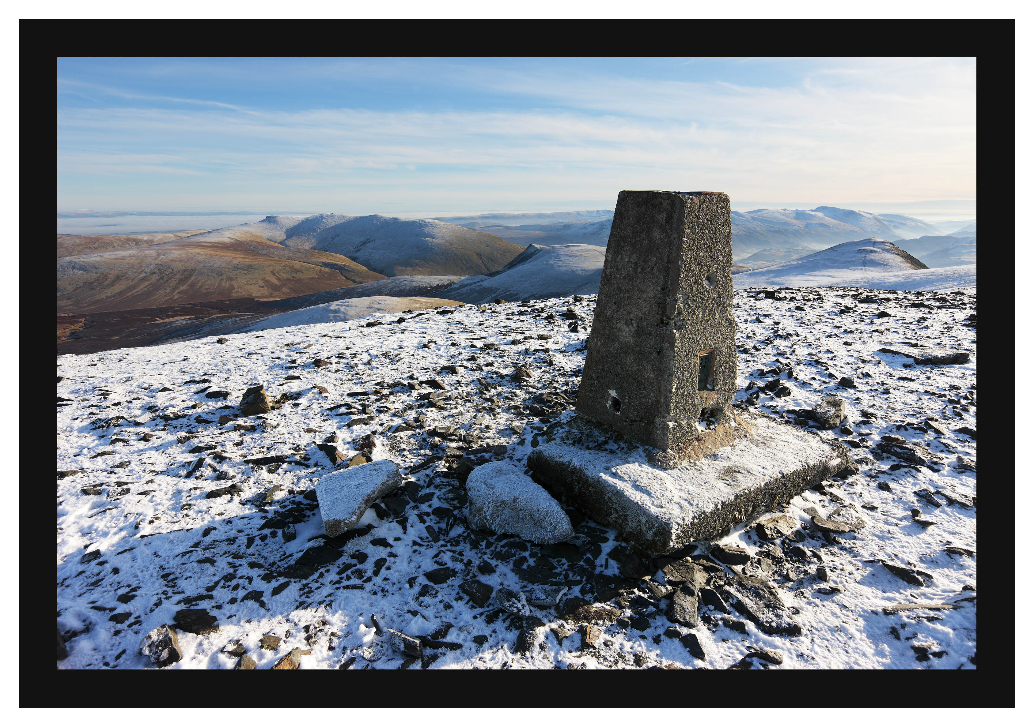46E8030 The trig point on Skiddaw with Blencathra Lonscale Fell and Skiddaw Little Man beyond