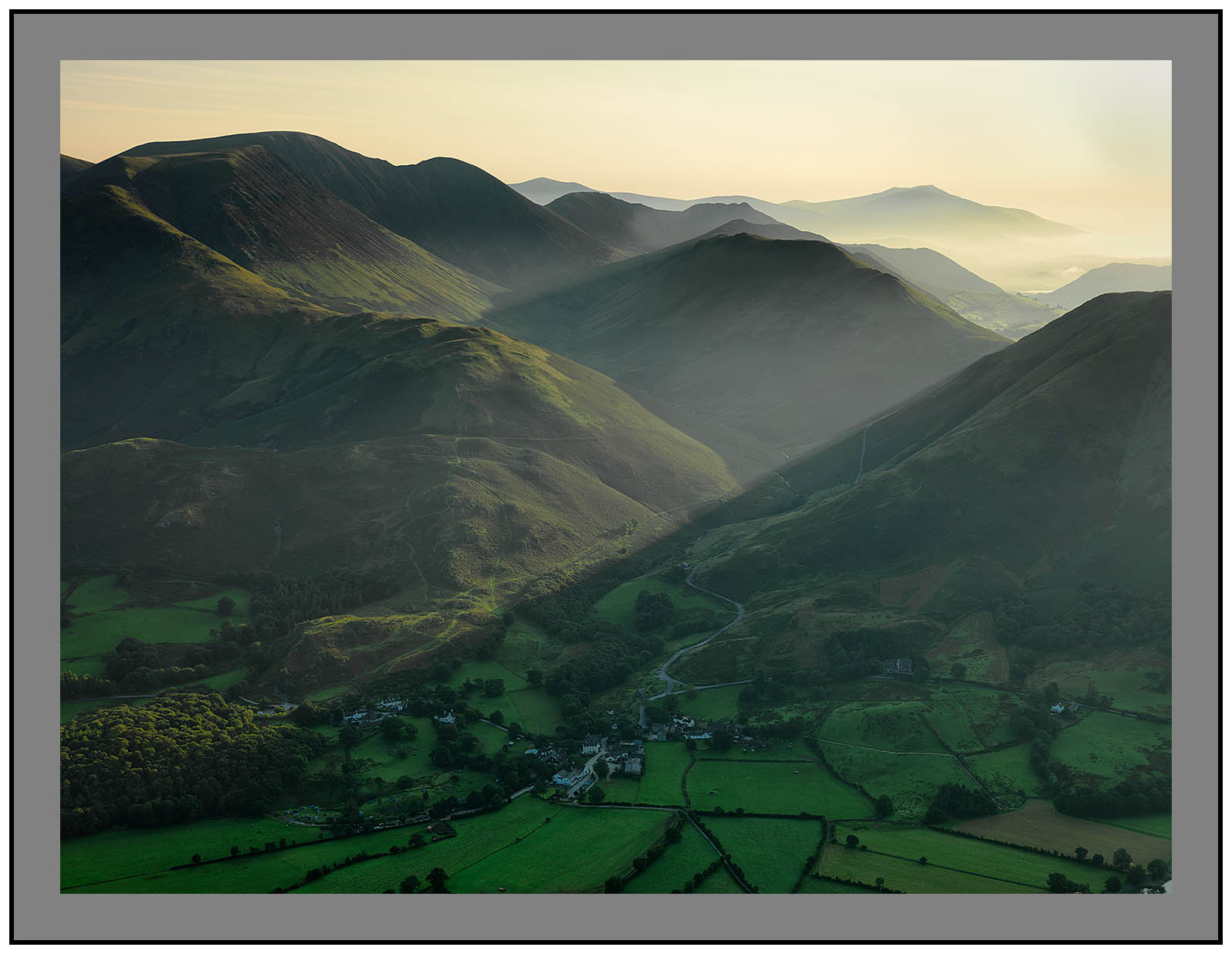 A 09640 Daybreak on Buttermere village and the Newland Valley