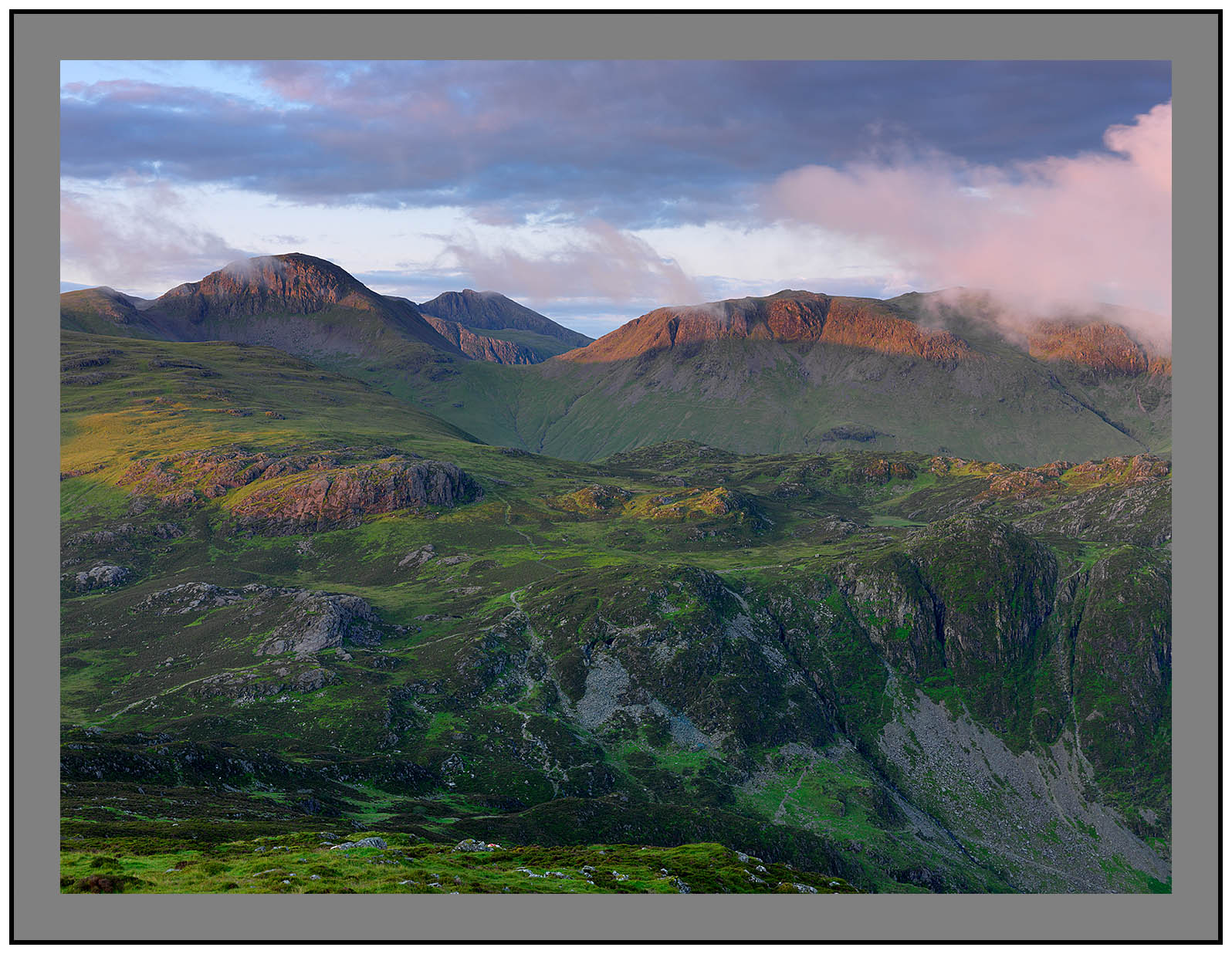 A 5187 Daybreak on Great Gable Scafell and Kirk Fell
