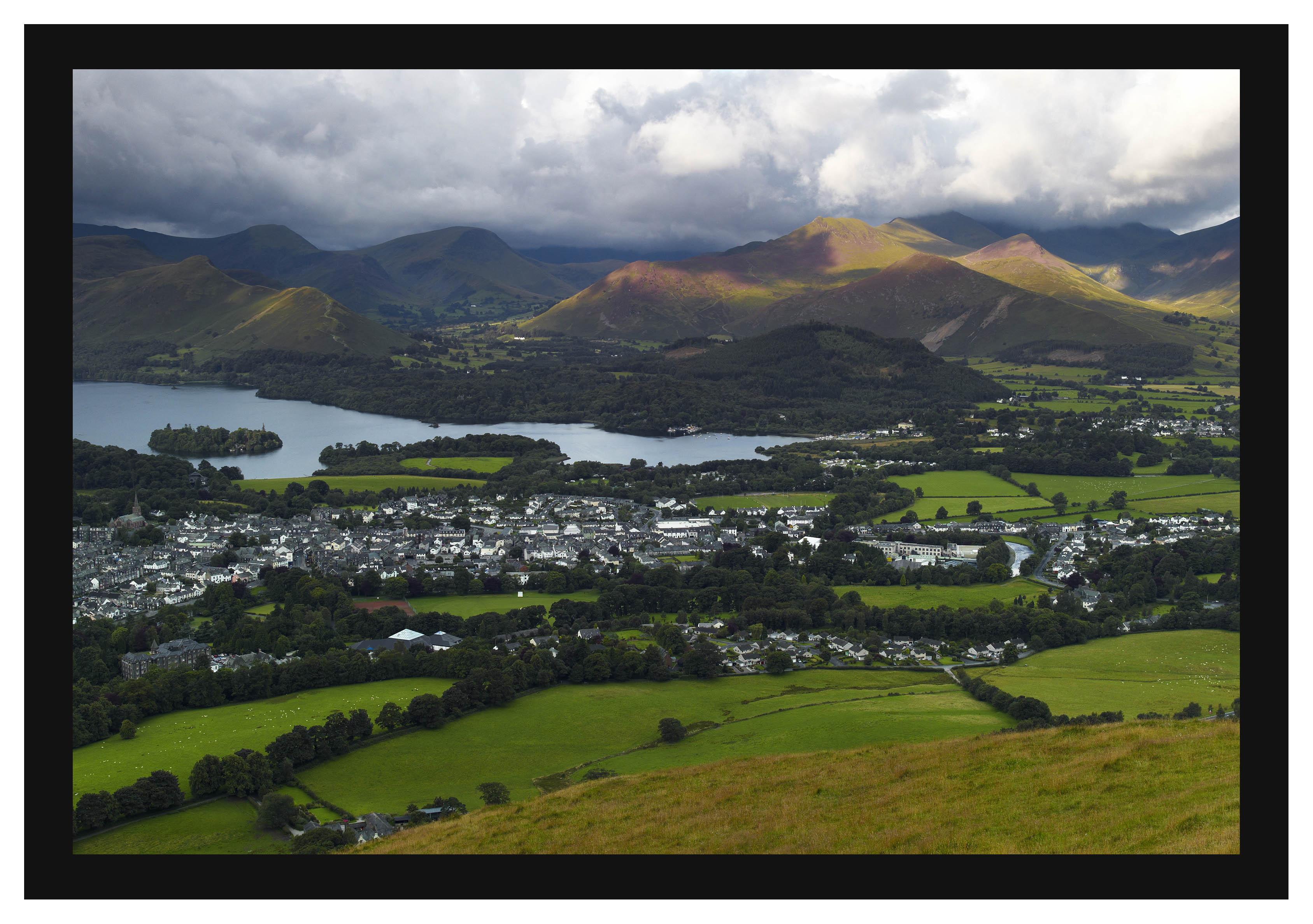 L1001288 Derwent Water and the Newlands Valley and Coledale fells over Keswick from Latrigg