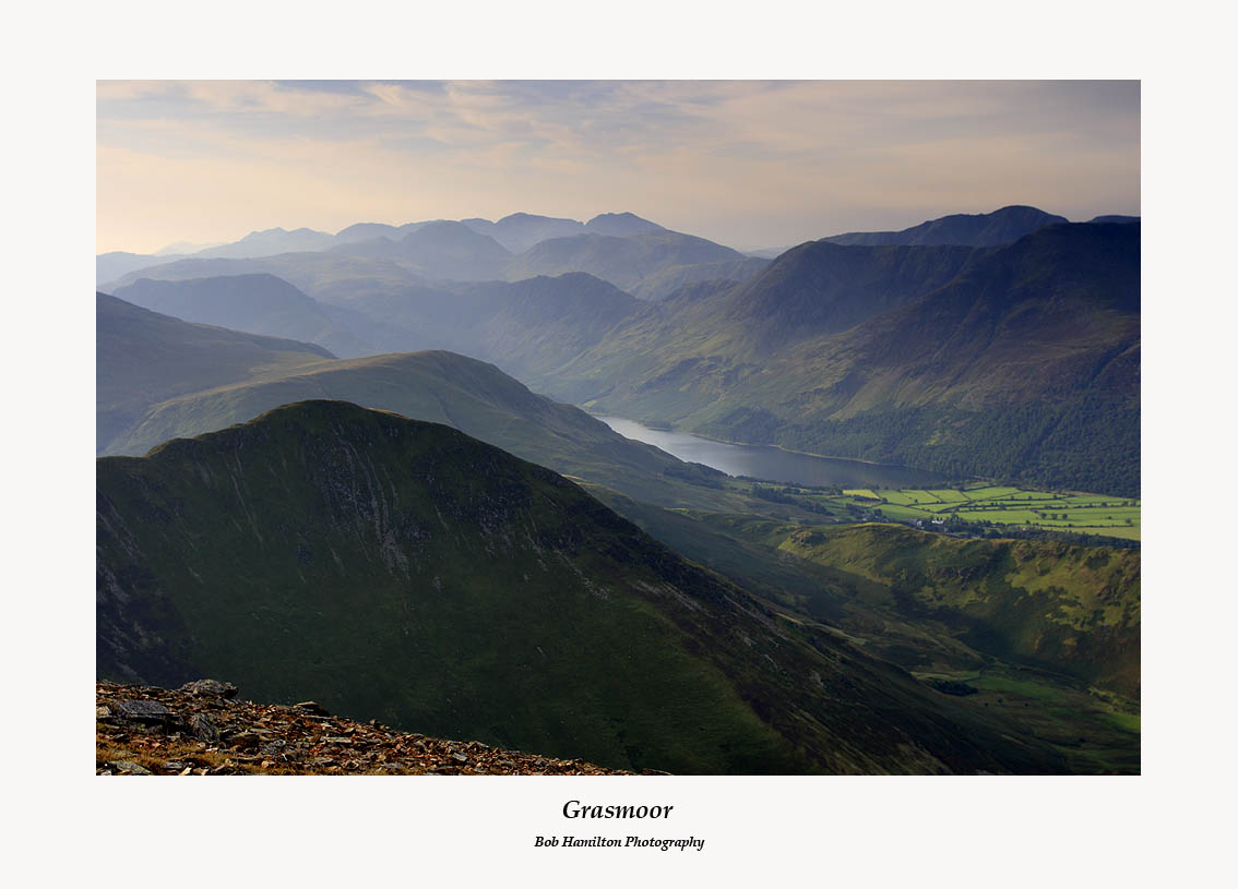 Whiteless Pike and Buttermere with the Scafells in the distance from Grasmoor