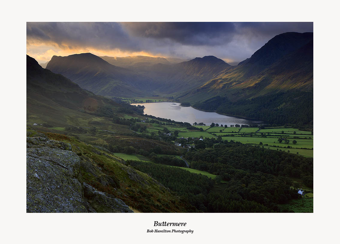Sunrise on Buttermere Fleetwith Pike and Haystacks from Rannerdale Knotts