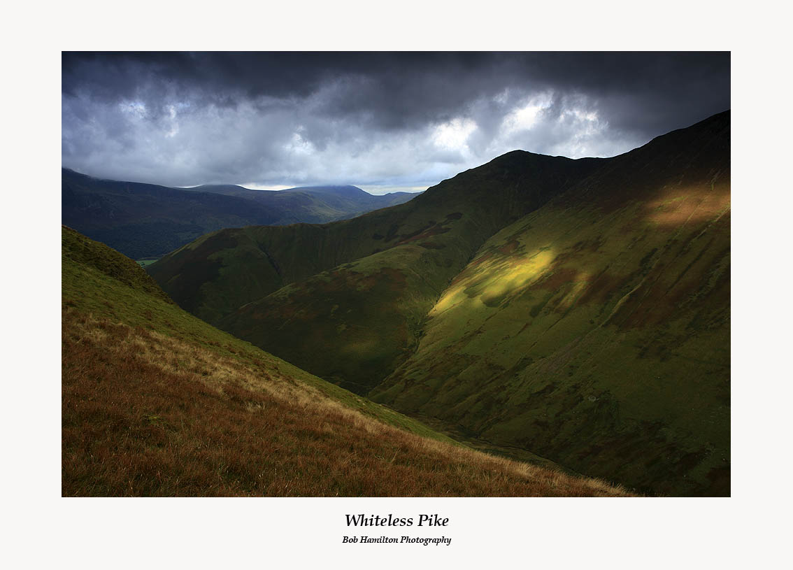 Ray of light on Whiteless Pike seen from Ard Crags