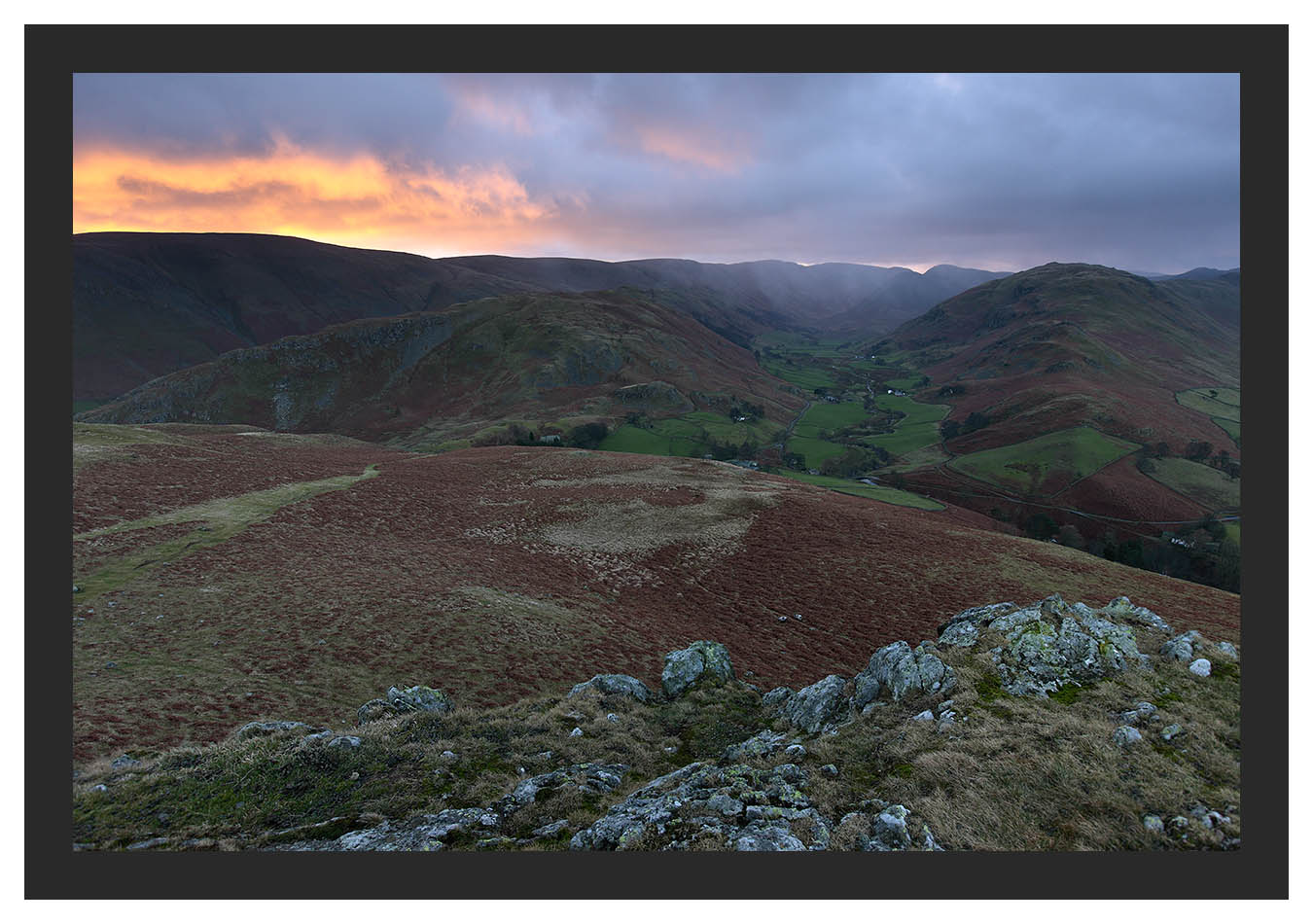 46E0536 Daybreak over Gowk Hill and Martindale from Hallin Fell