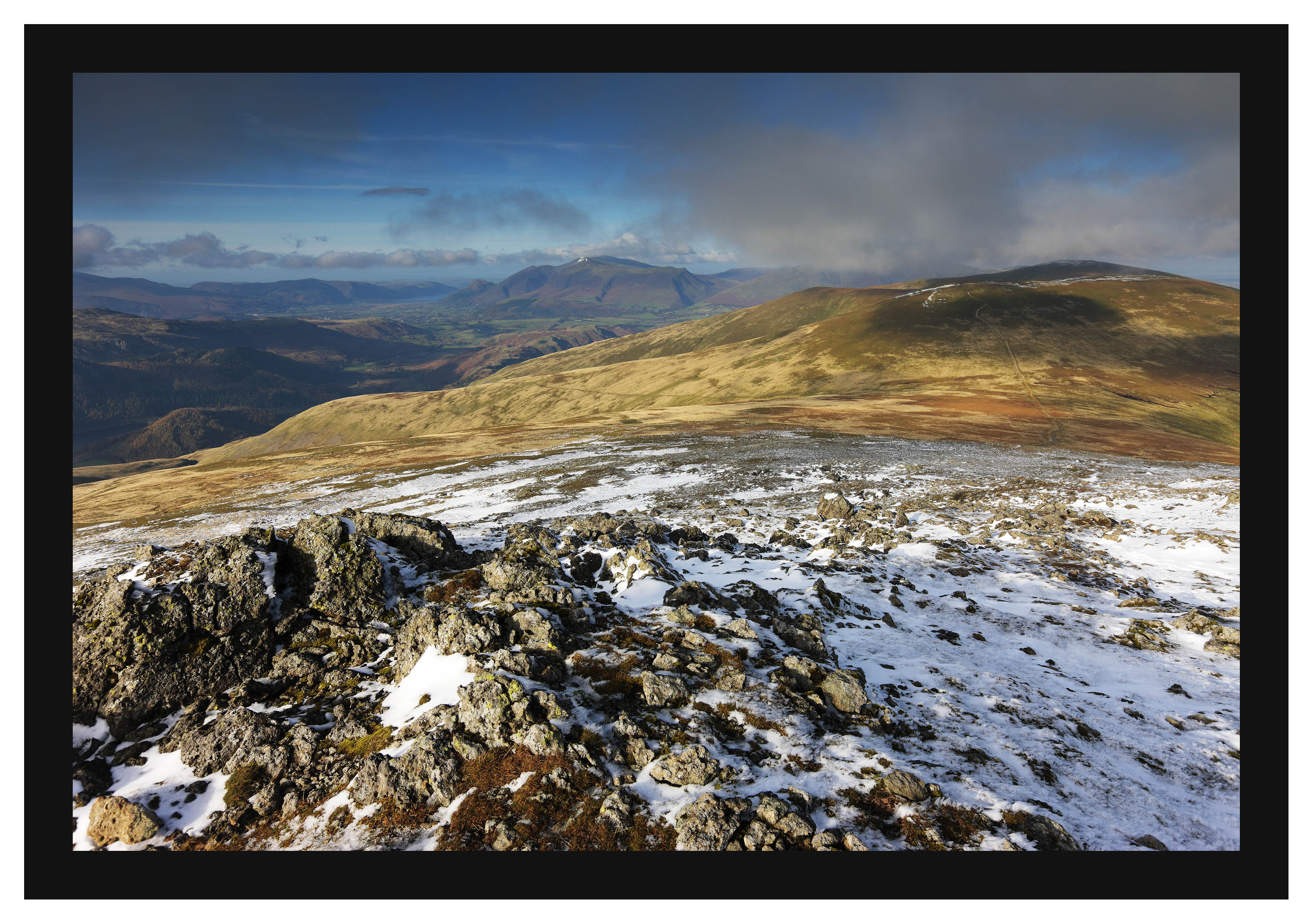 46E7790 Late afternoon sun on Skiddaw and Stybarrow Dodd from Raise