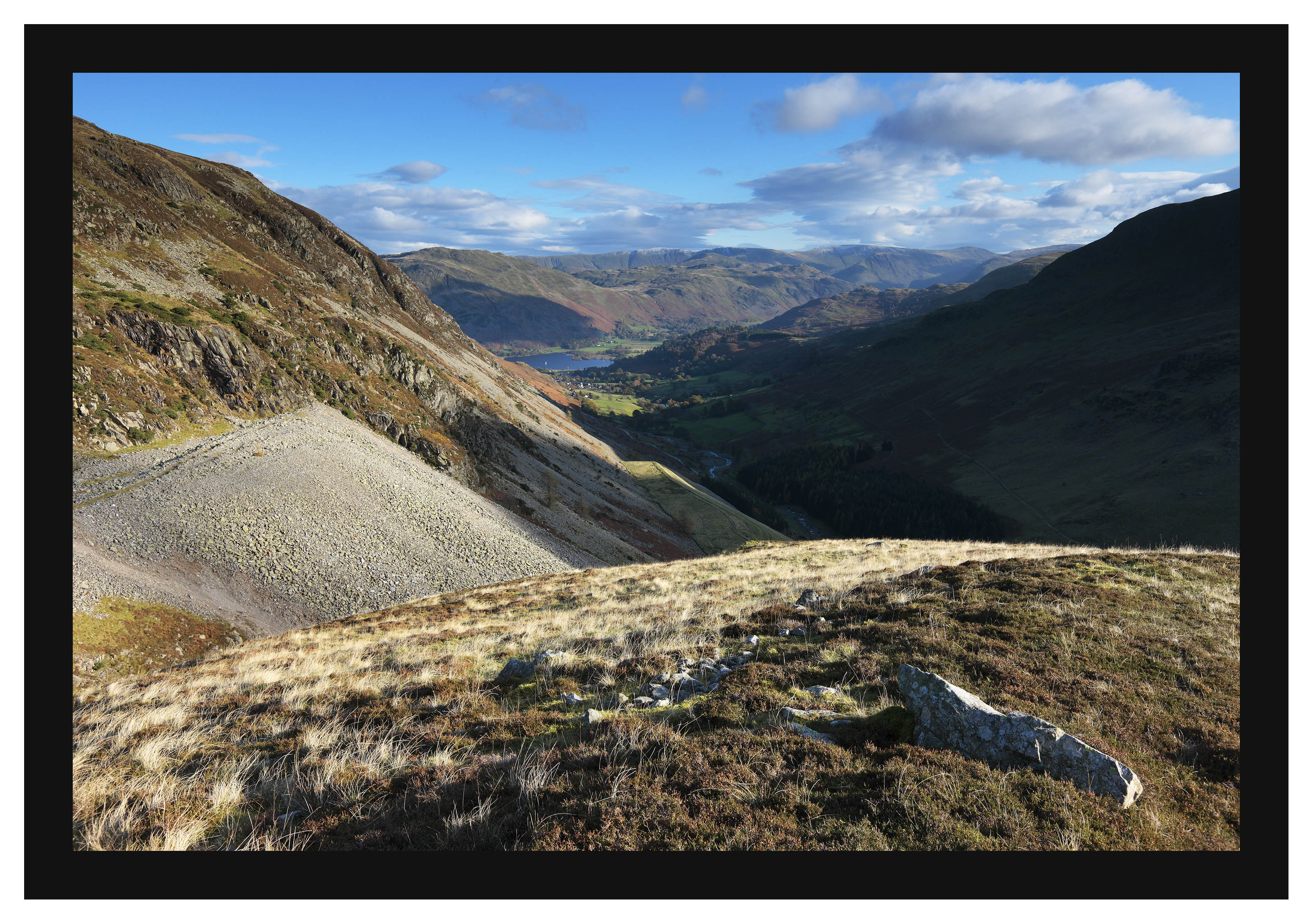 46E7814 Glenridding Screes and Glenridding from Luty's Tong