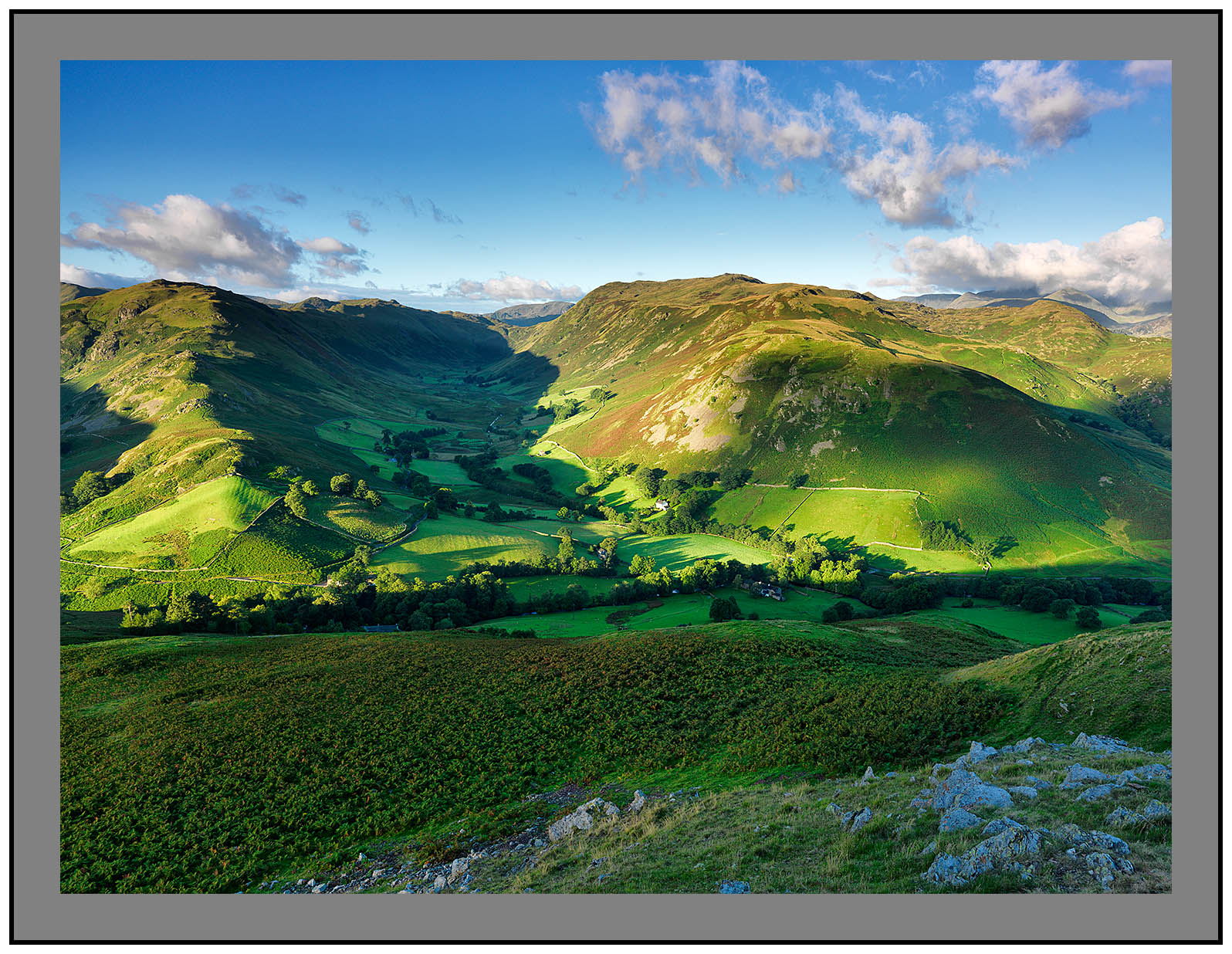 A 09854 Early morning light on Beda Fell Boredale Place Fell and the Helvellyn massif from Hallin Fell