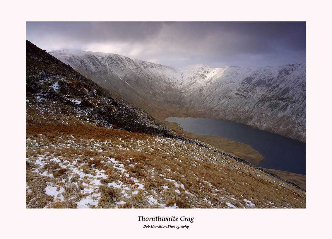 High Street Thornthwaite Crag and Hayeswater seen from The Knott through a snowstorm