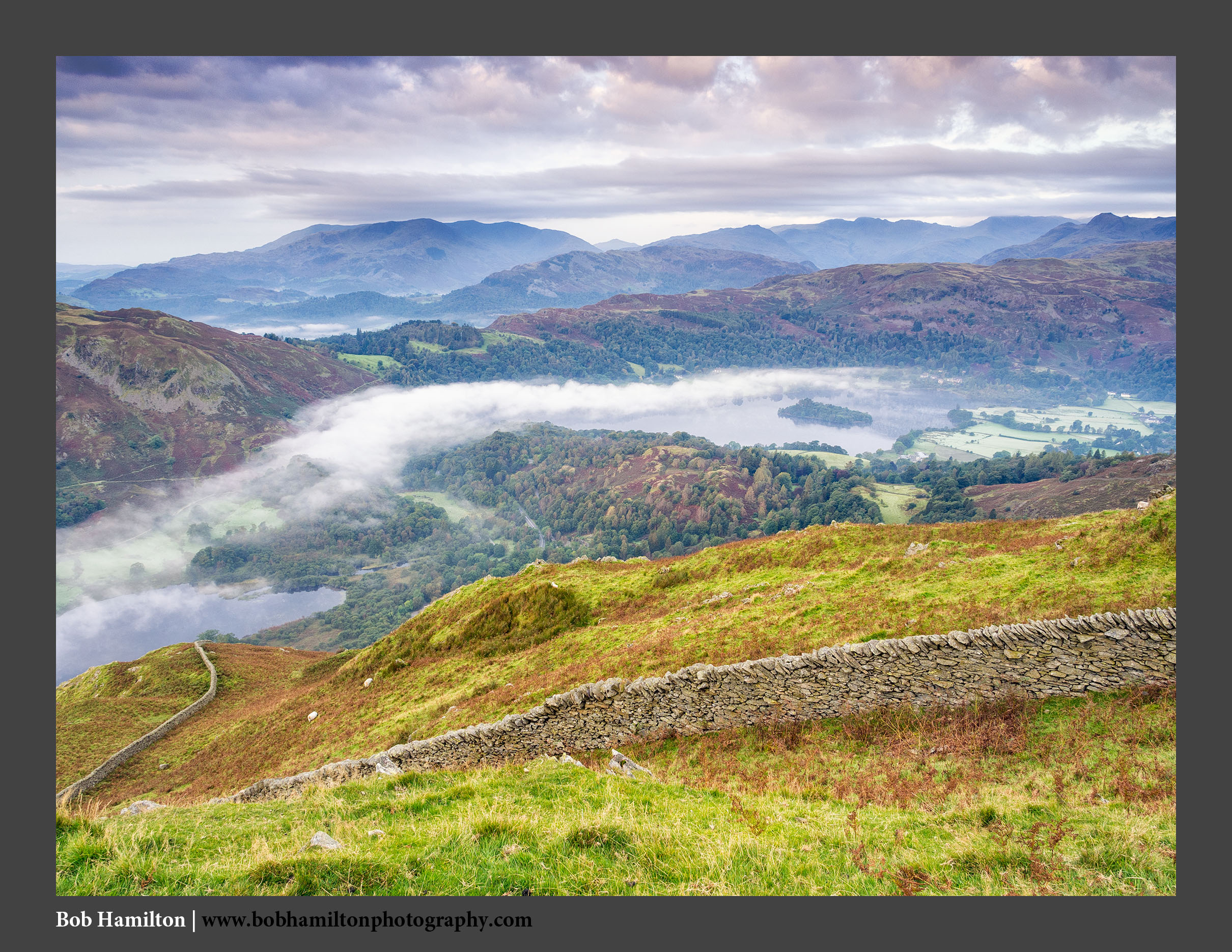 O125681 Rydal Water Grasmere and the Coniston and Langdale Fells from Nab Scar