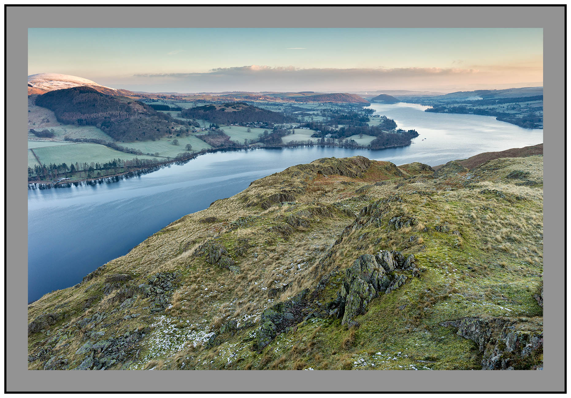 S2015360 Early morning light bathes Little Mell Fell Ullswater Dacre and the Northern Pennines seen from Hallin Fell