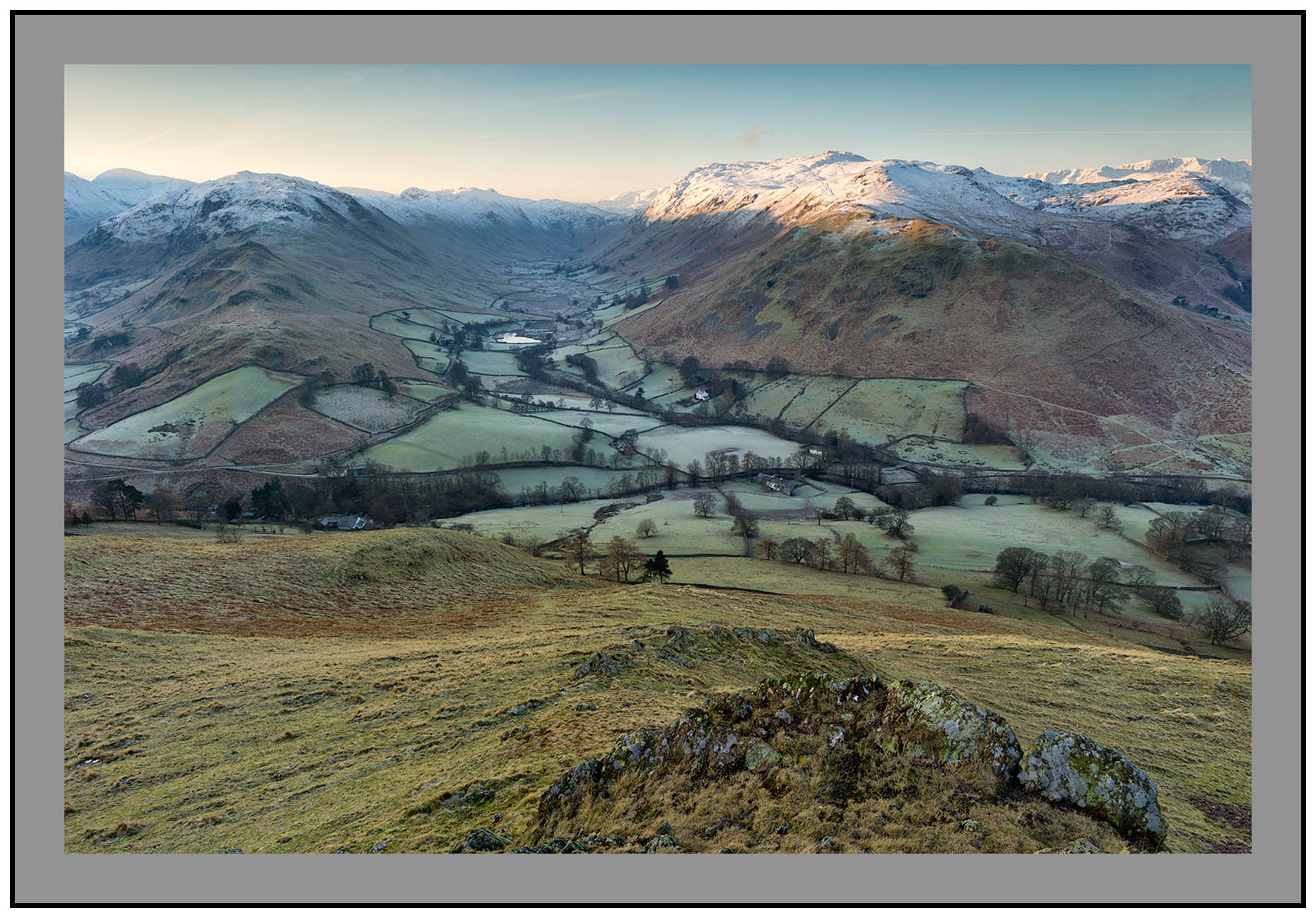S2015372 Early morning light on Boredale Steel Fell and the Helvellyn Massif seen from Hallin Fell