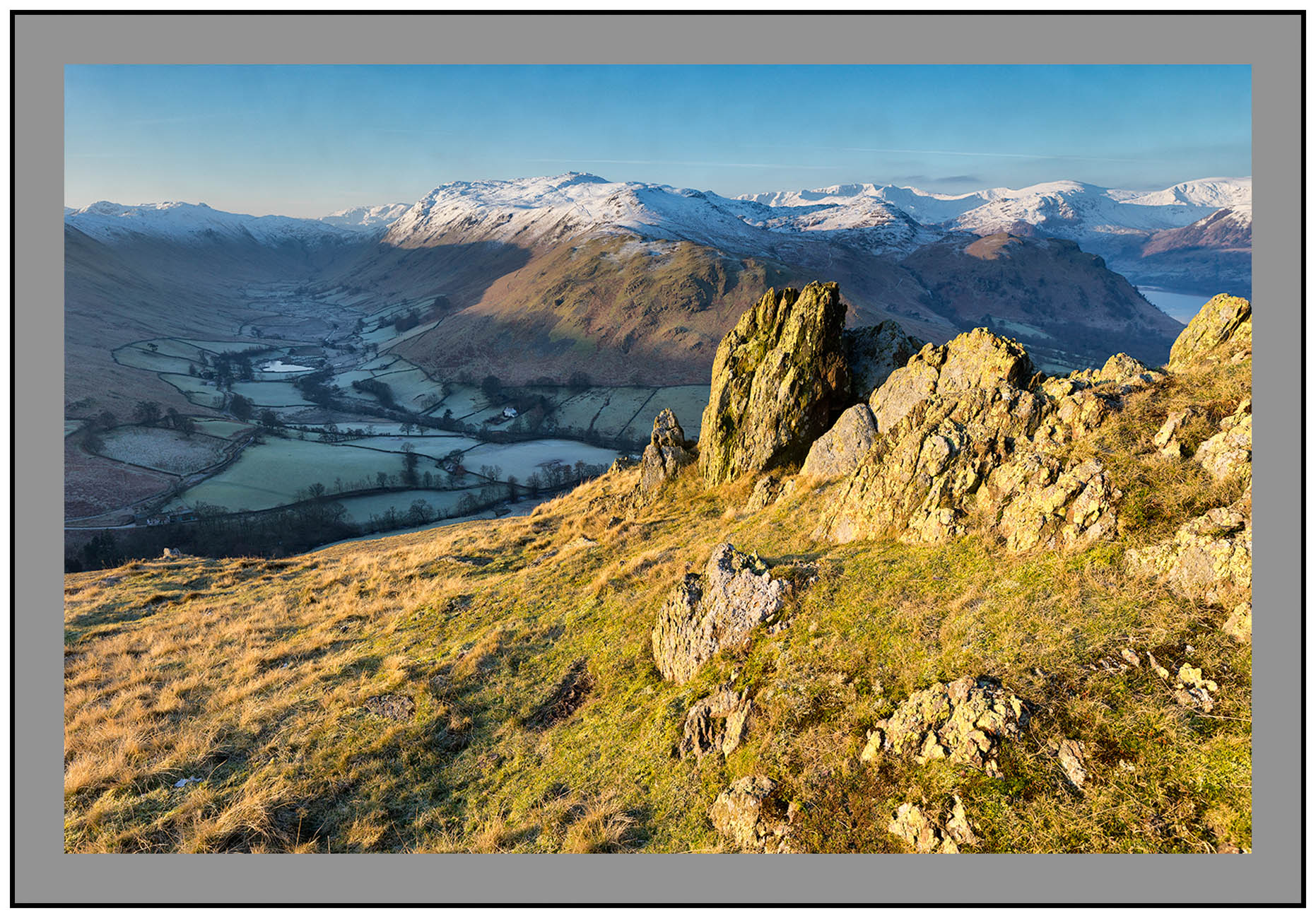 S2015398 Early morning light on Boredale Place Fell and the Helvellyn Massif seen from Hallin Fell