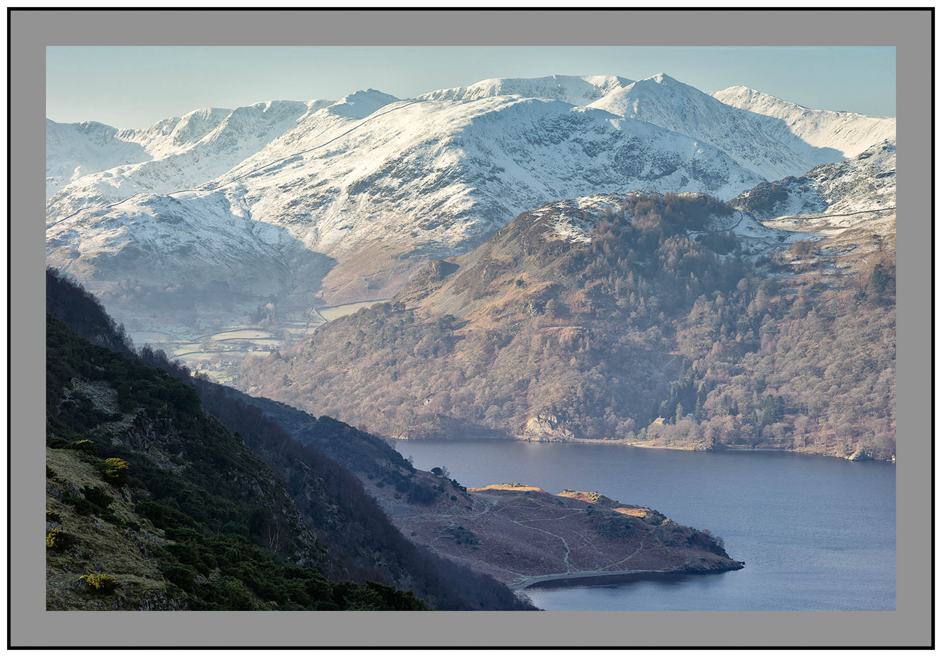 S2015436 Glenridding and the snow capped Helvellyn Massif across Ullswater from Long Crag