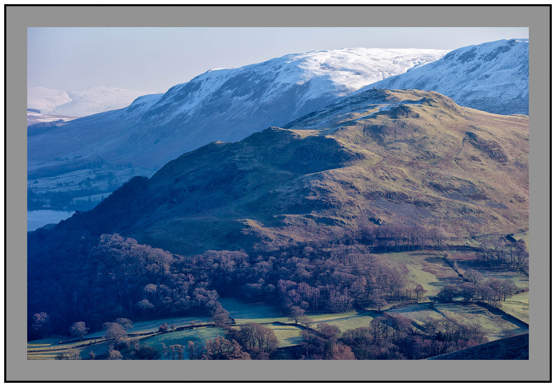 S2015453 Little Hallin Fell over-shadowed by snow capped Bonscale Pike and the distant Pennines