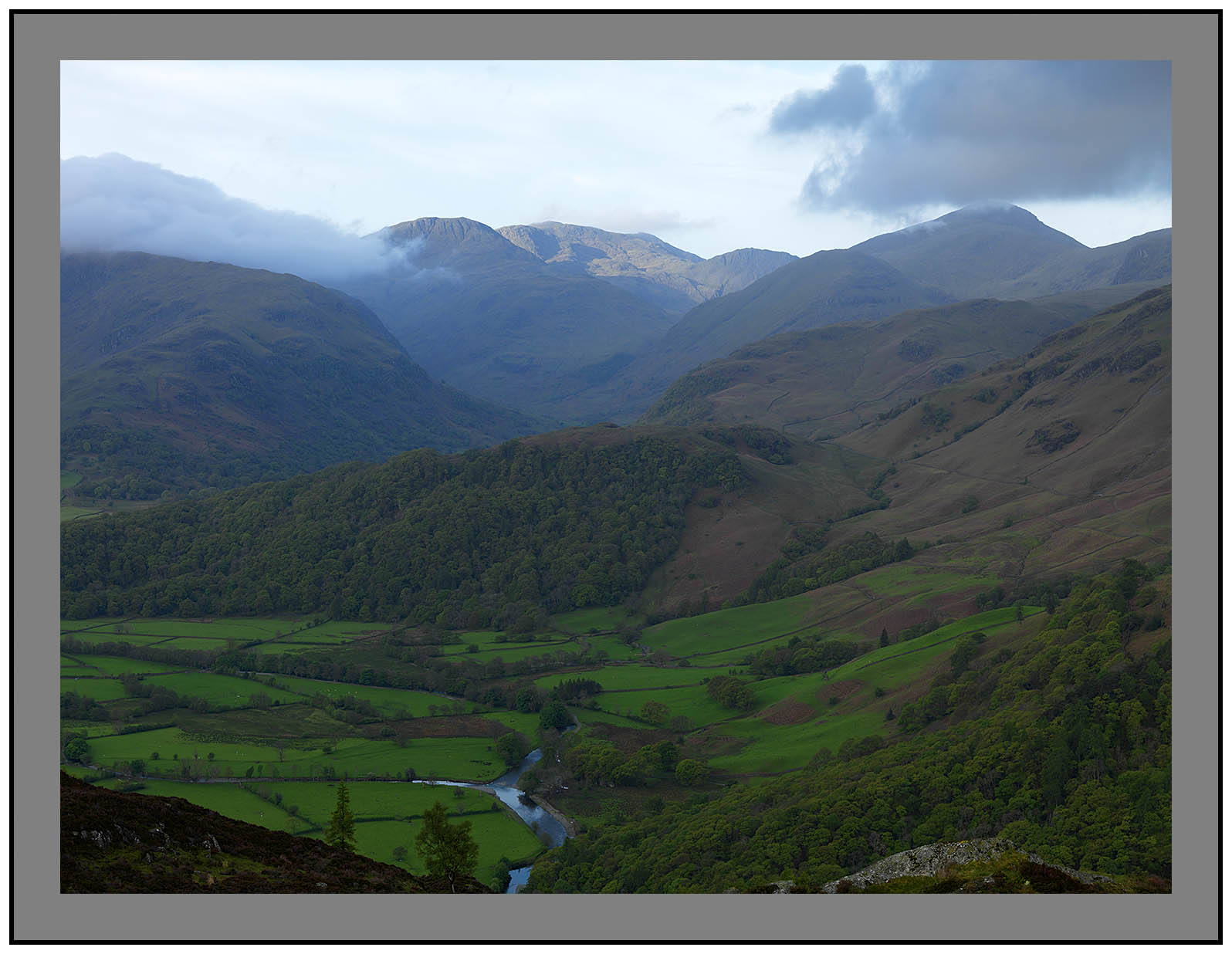 A 3292 Daybreak on Scafell Pike seen over Borrowdale from Kings How