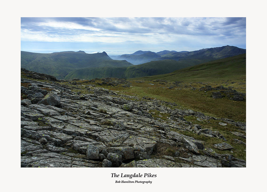 The Langdale Pikes Wetherlam Pike O'Blisco Swirl How and Bowfell from Combe Head