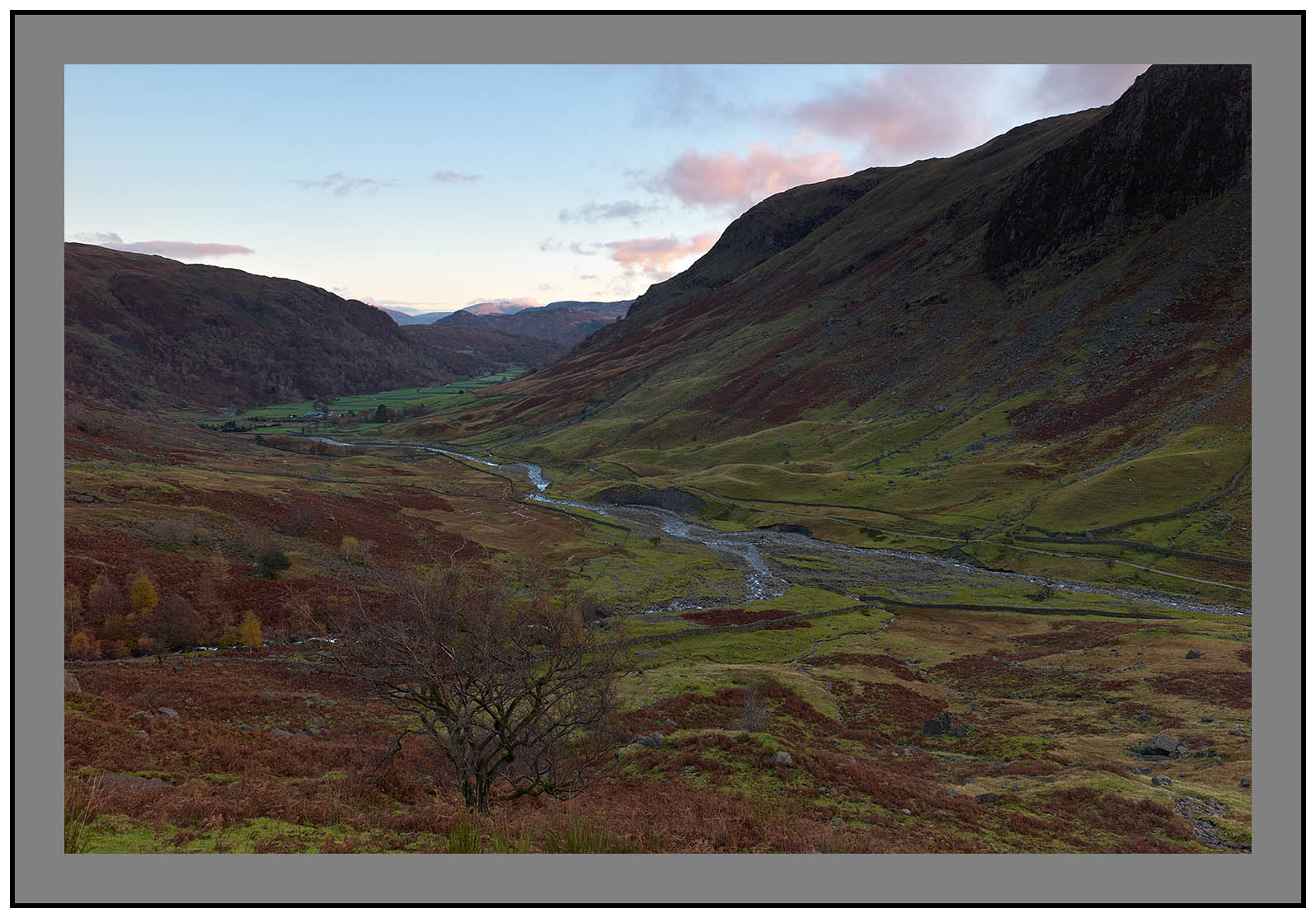 L1001307a Daybreak on Seathwaite and a distant Blencathra