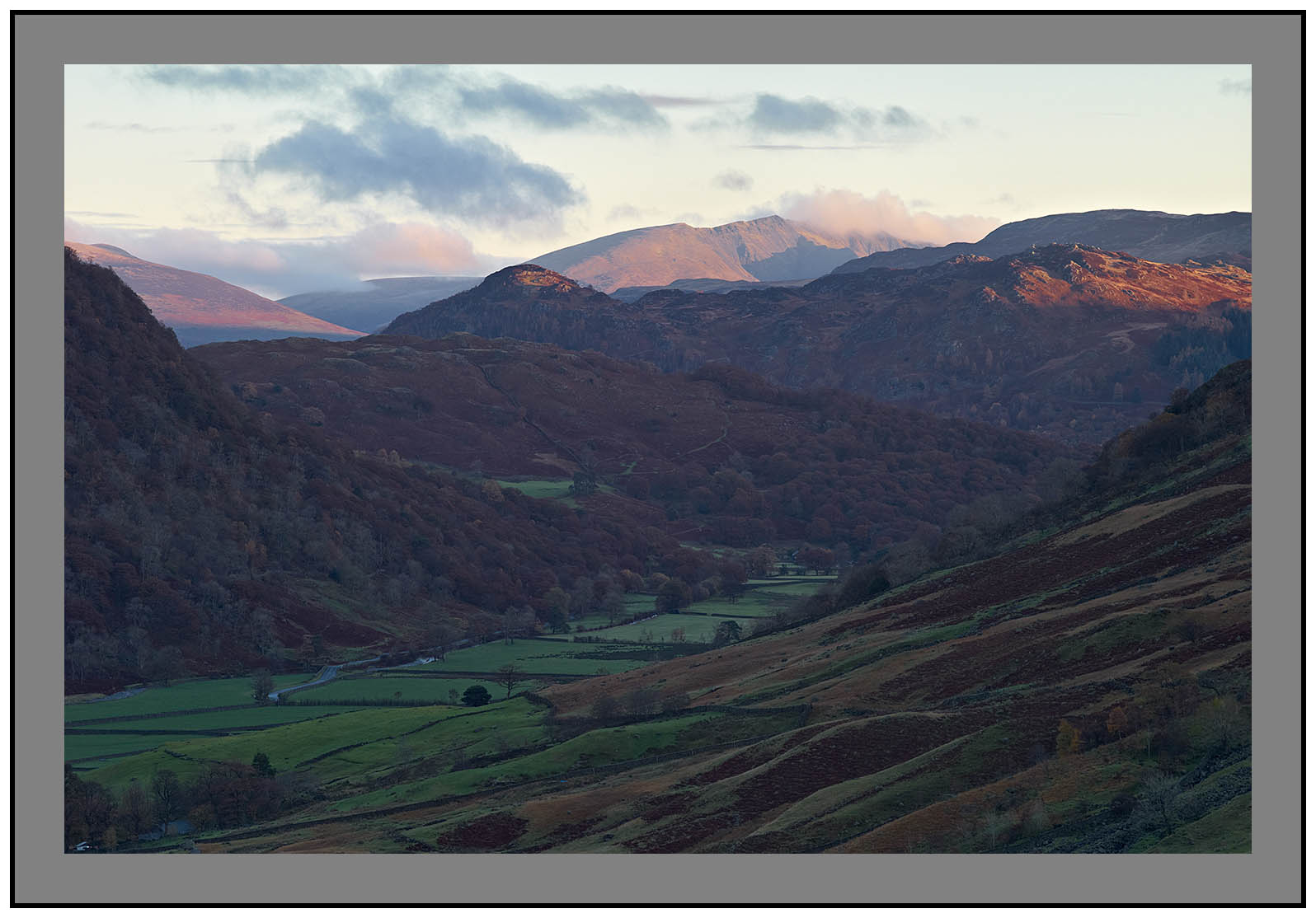 L1001349a Daybreak on Blencathra over Borrowdale