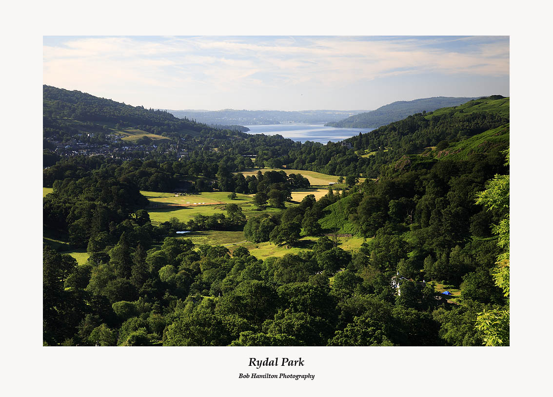 Rydal Park Ambleside and Windermere from Nab Scar