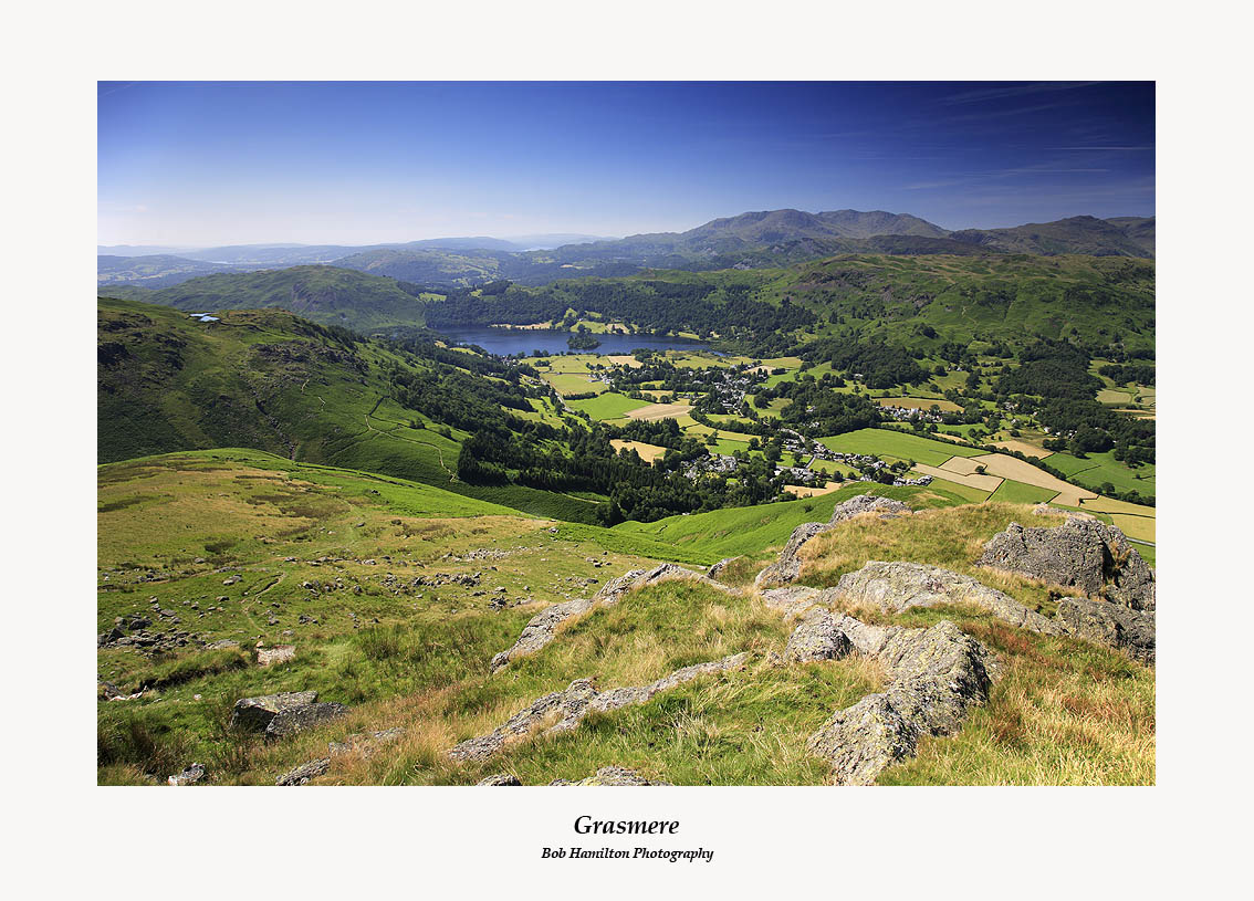 Loughrigg Fell Grasmere and the Coniston fells from Stone Arthur