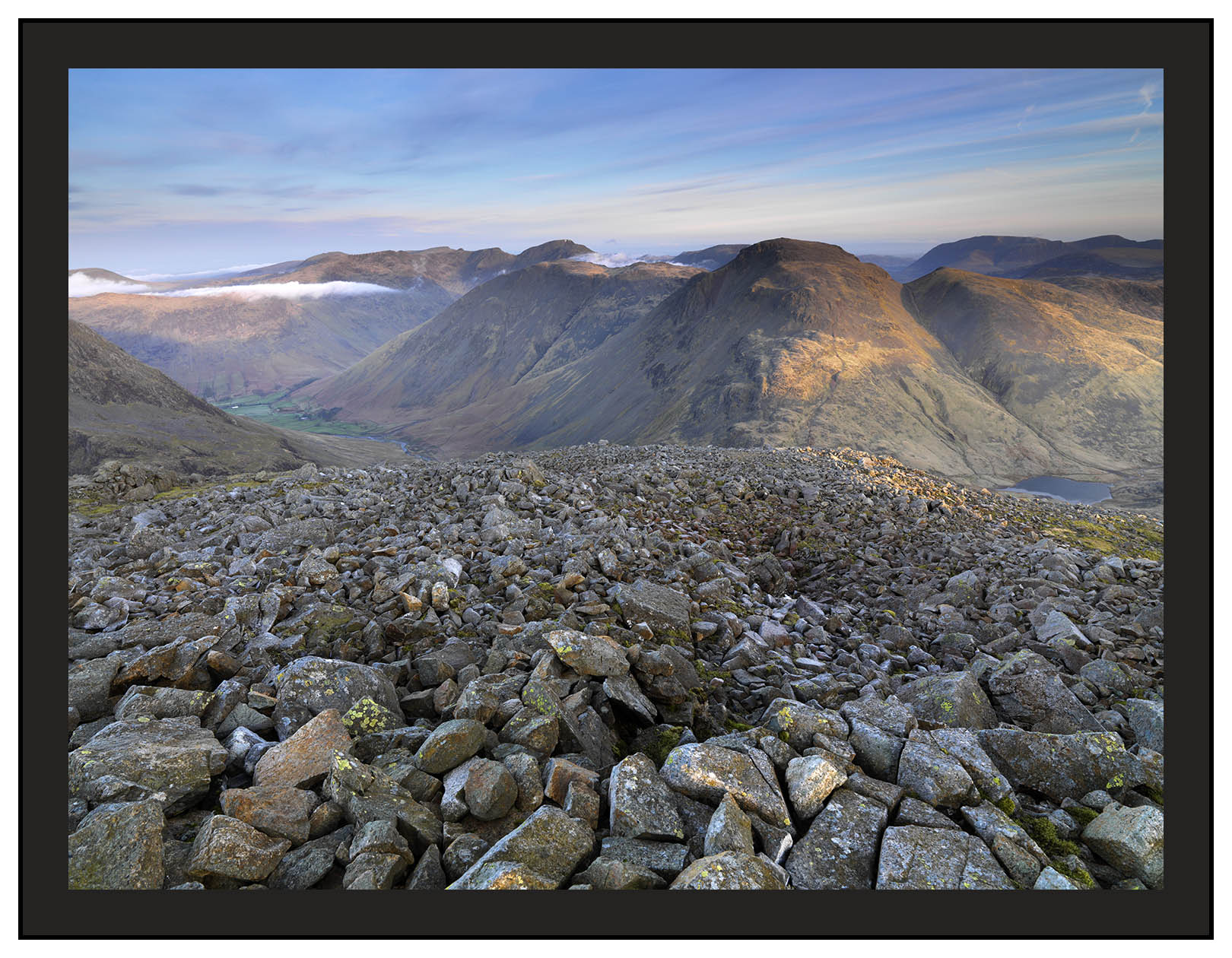 A 02222 First light on Great Gable and Wasdale from Great En