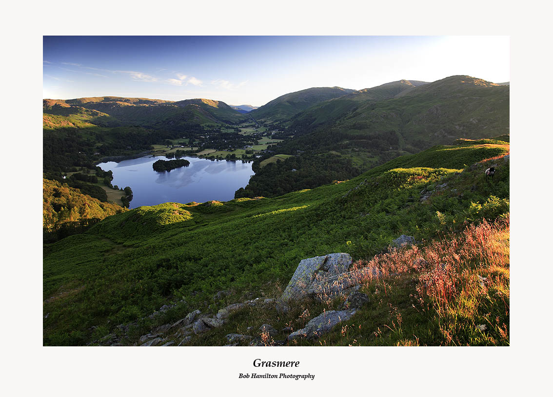 First light on Grasmere Helm Crag Steel Fell Seat Sandal Stone Arthur Great Rigg and Heron Pike from Loughrigg Fell