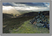 S2015007 The cairn on Hammer Head looking over Broughton Hope to the Culter Fells and Tinto Hill