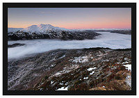 46E0419 Alpenglow on Ben Venue and the distant Arrochar Alps and a temperature inversion over Loch Katrine