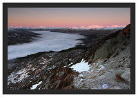46E0426 Alpenglow on the Arrochar Alps and a temperature inversion over Loch Katrine seen from Ben A'an