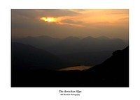 Sunset over the Arrochar Alps from Ben Lomond