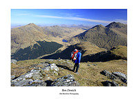 Hillwalker on Ben Donich with Loch Restil and The Rest and Be Thankful behind